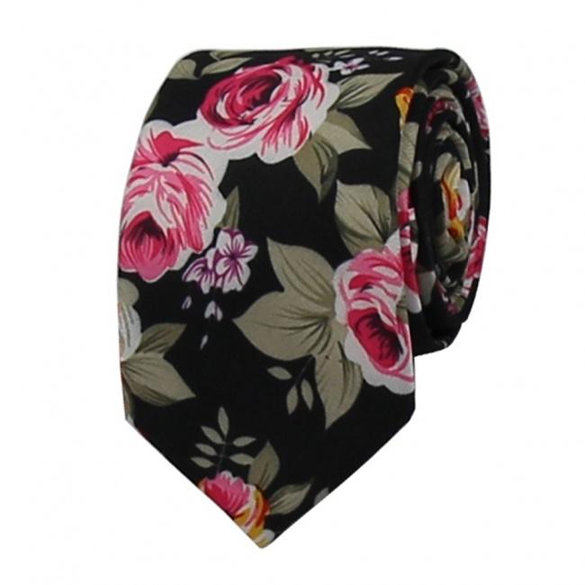 Černá květovaná pánská bavlněná kravata