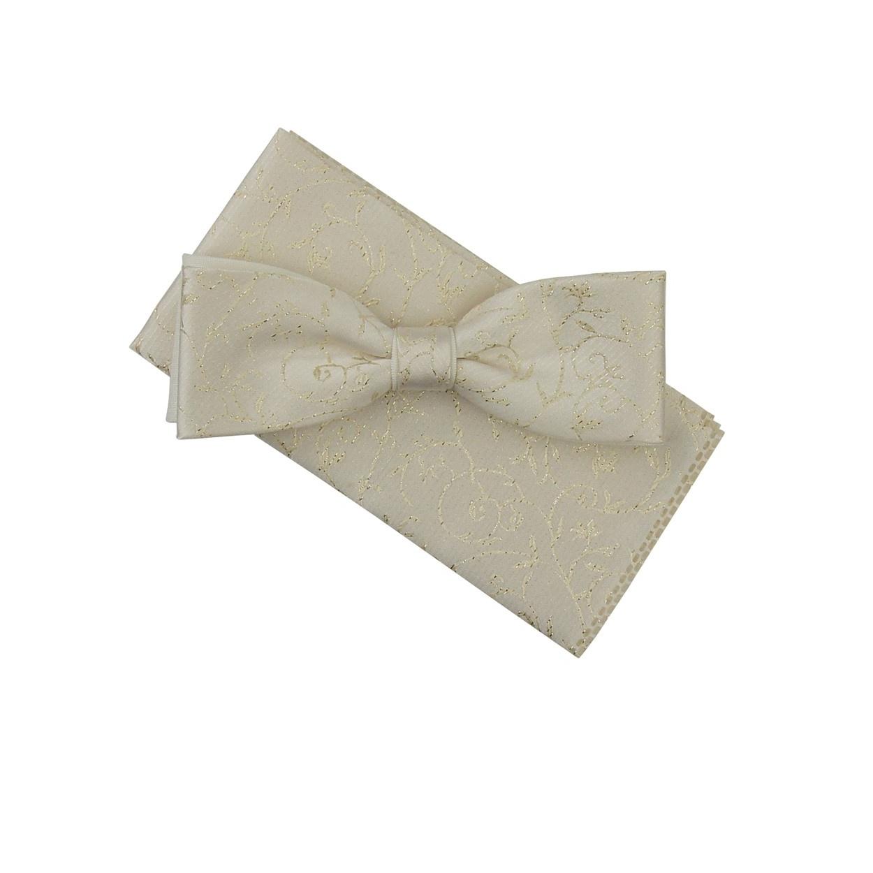 Šampáň pánský motýlek s kapesníčkem vyšívaný