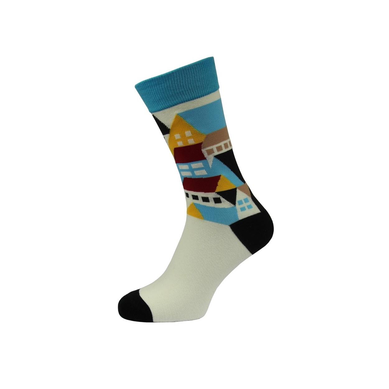 Tyrkysovo bílé pánské ponožky s domečky