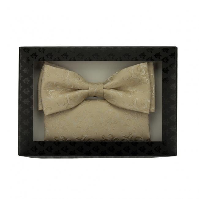 Béžový pánský set Šle a vyšívaný Motýlek s kapesníčkem v krabičce