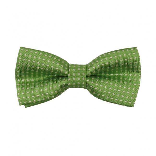 Zelený dětský motýlek s puntíky