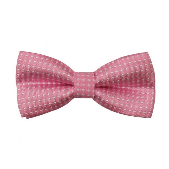 Světle růžový dětský motýlek s puntíky