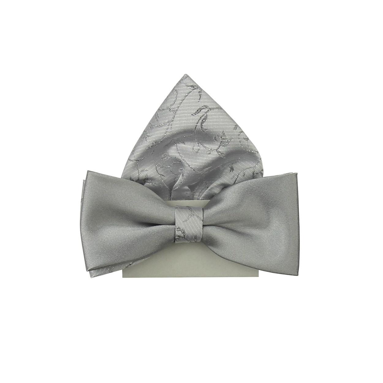 Stříbrný vyšívaný dětský motýlek s kapesníčkem