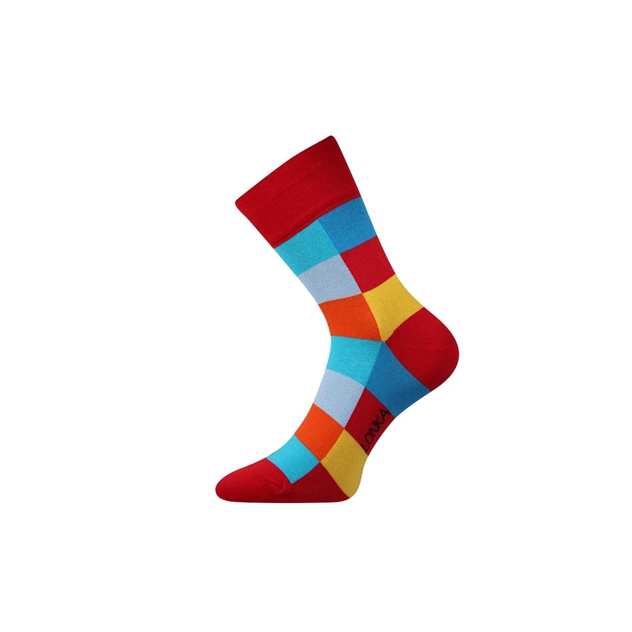 Červené pánské ponožky s kostkami Decube