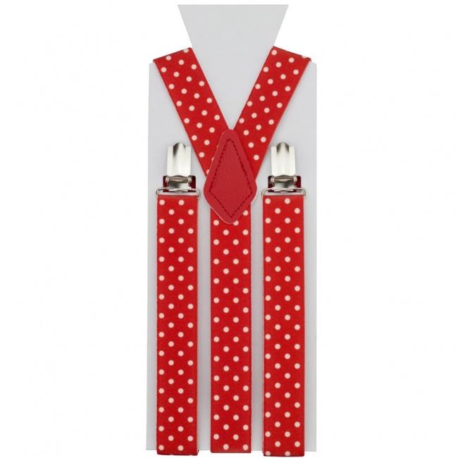 Červené pánské šle - kšandy s bílými puntíky