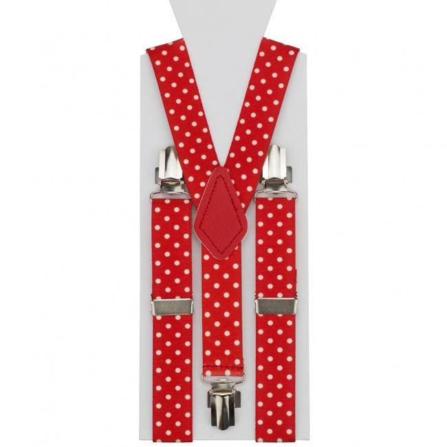 Červené dětské šle - kšandy s bílými puntíky