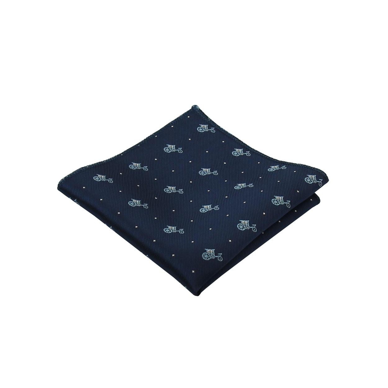 Tmavě modrý pánský kapesníček do saka AUTA