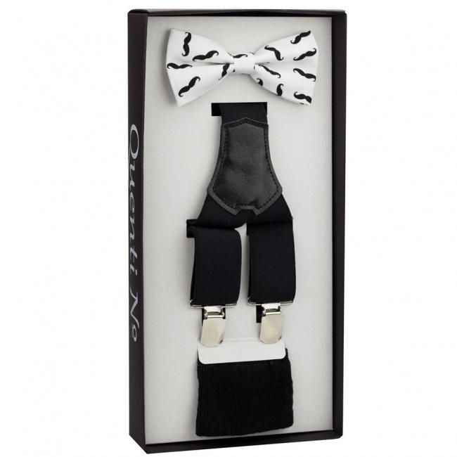 Černo bílý Luxusní pánský set Šle a motýlek s kníry a ponožkami