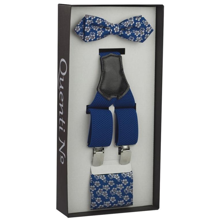 Modrý Luxusní pánský set Šle a květovaný motýlek s kapesníčkem