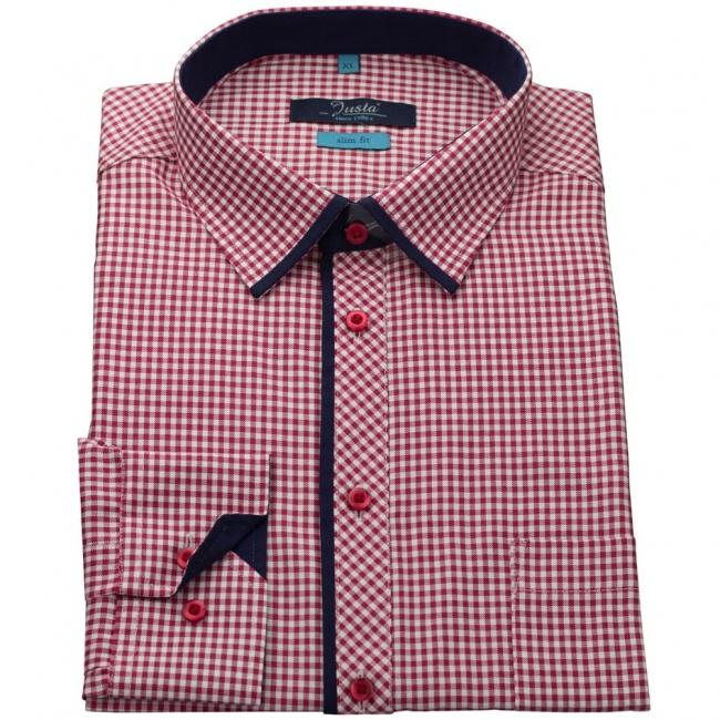 Červená kostkovaná pánská slim fit košile
