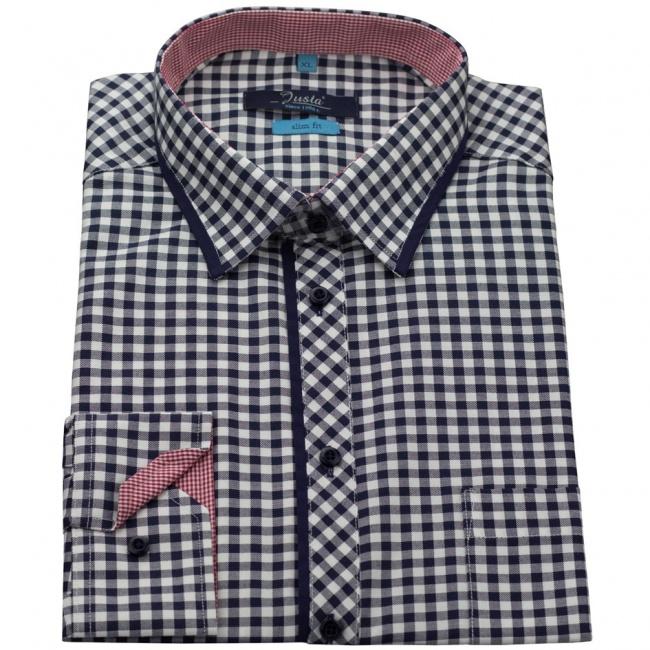 Tmavě modrá kostkovaná pánská slim fit košile