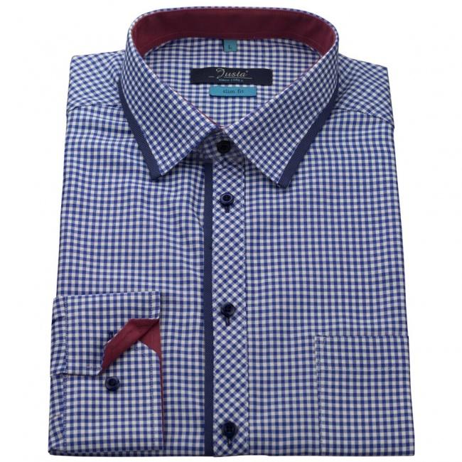 Modrá kostkovaná pánská slim fit košile