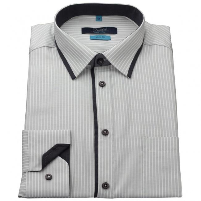 Šedá pánská slim fit košile s bílými pruhy