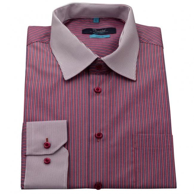 Vínově červená pánská slim fit košile s modro bílými pruhy