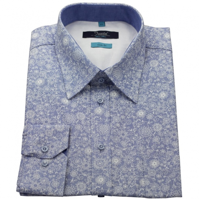 Modrá pánská slim fit košile s bílými květy