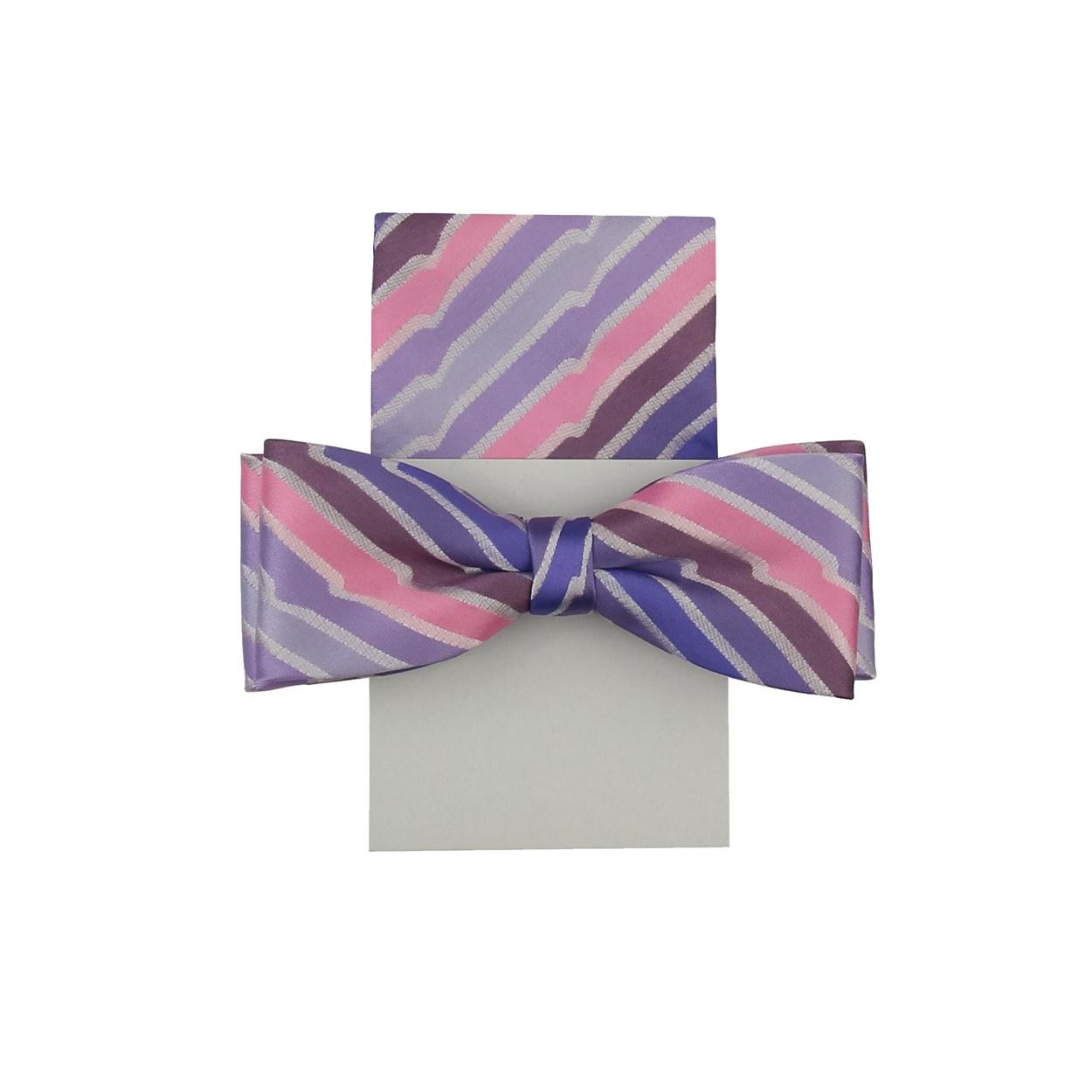 Světle fialovo růžový pánský motýlek s kapesníčkem vzorovaný