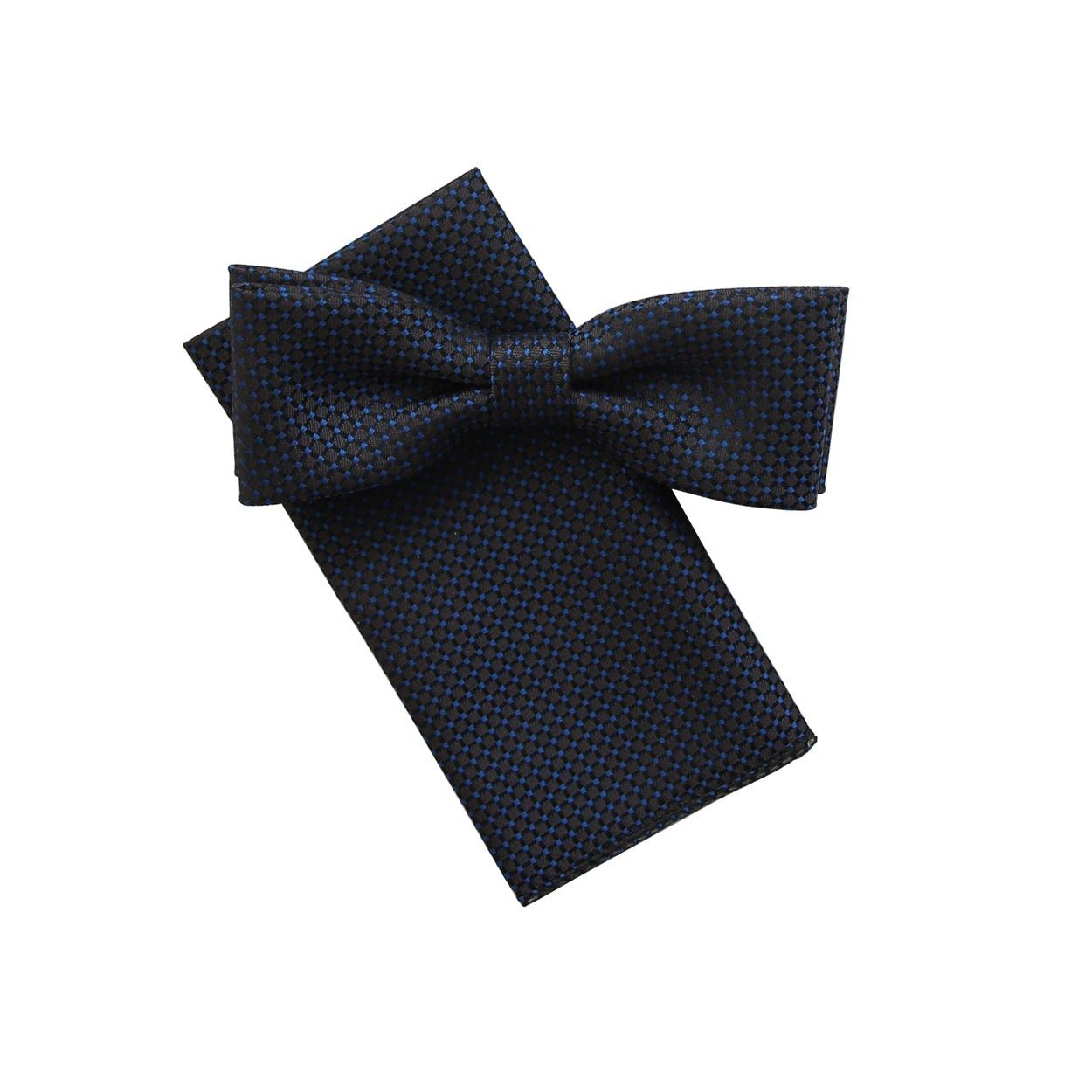 Tmavě šedo modrý pánský motýlek s kapesníčkem vzorovaný