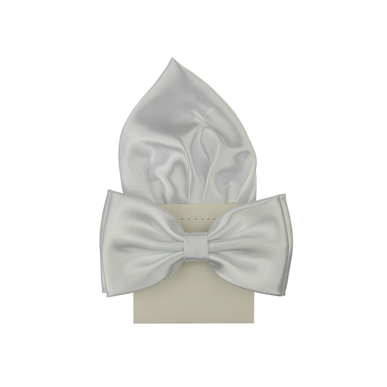 Bílý motýlek s kapesníčkem lesklý