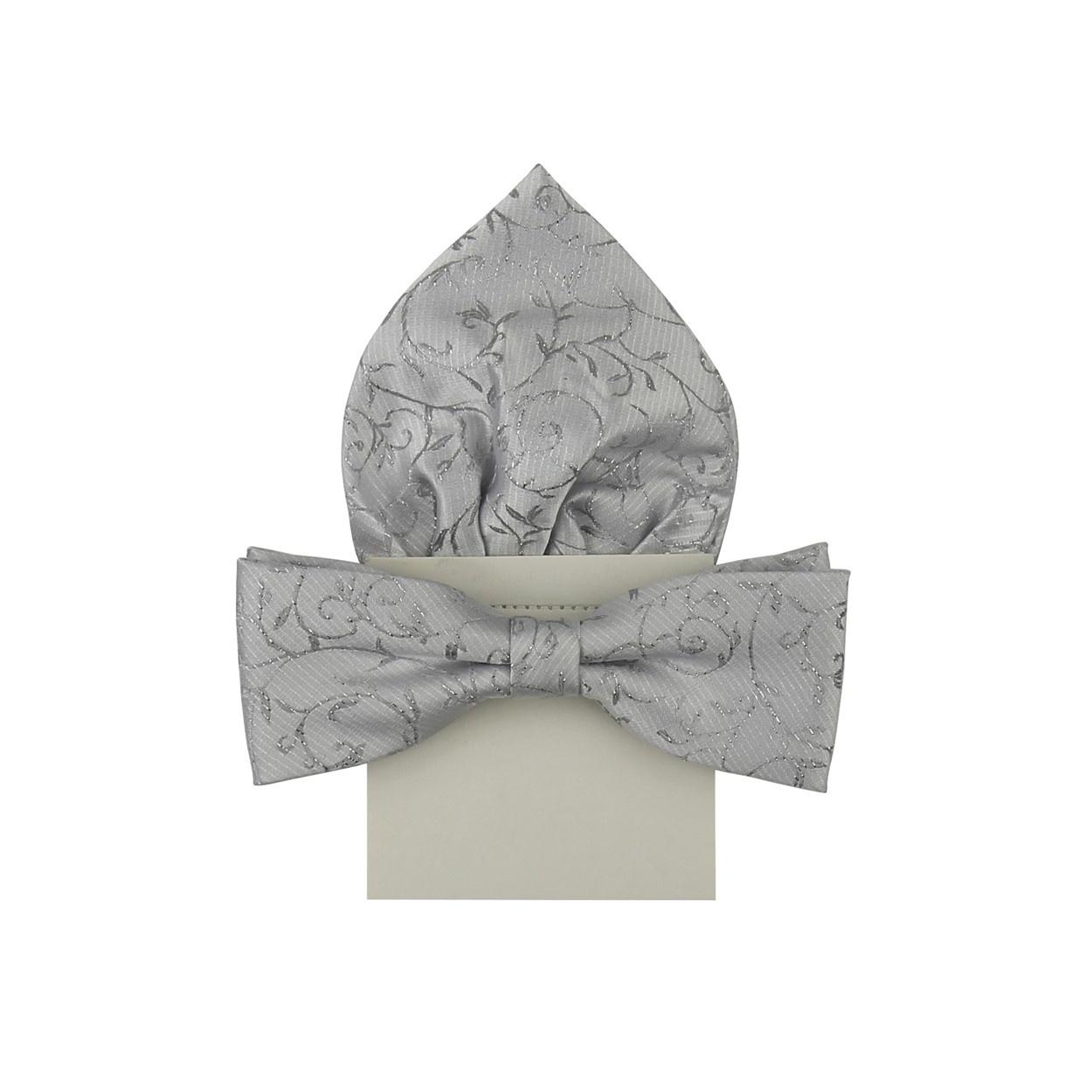 Stříbrný vyšívaný pánský motýlek s kapesníčkem