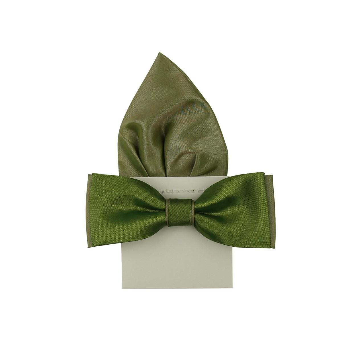 Zelený pánský motýlek s kapesníčkem lesklý