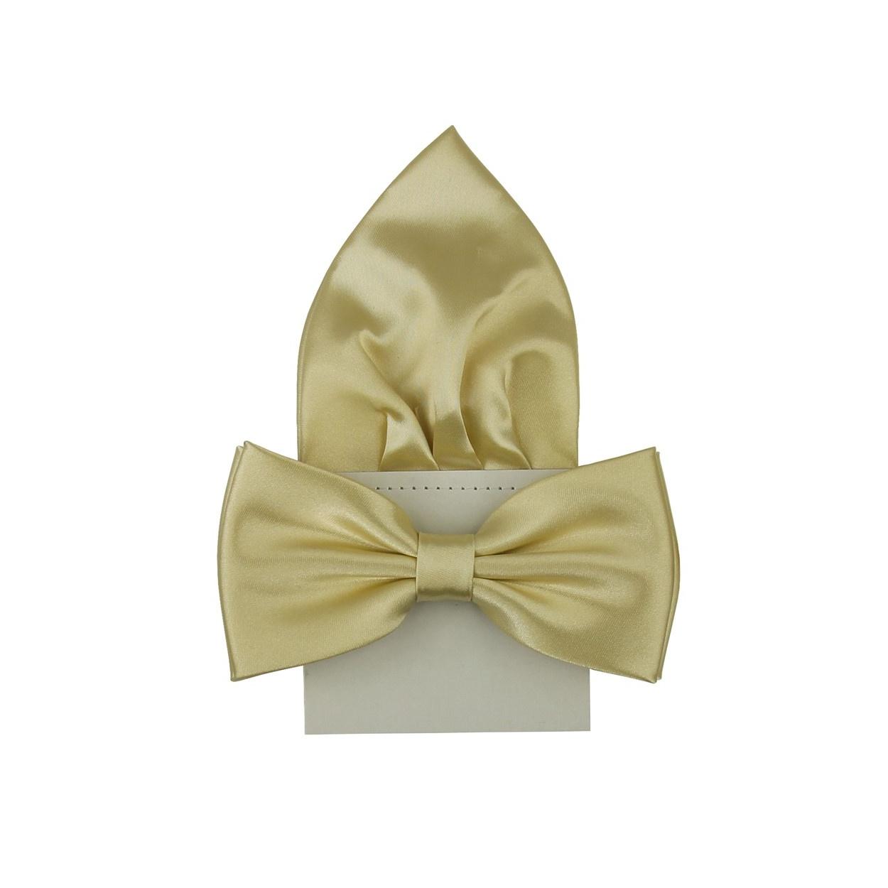 Šampaň pánský motýlek s kapesníčkem lesklý