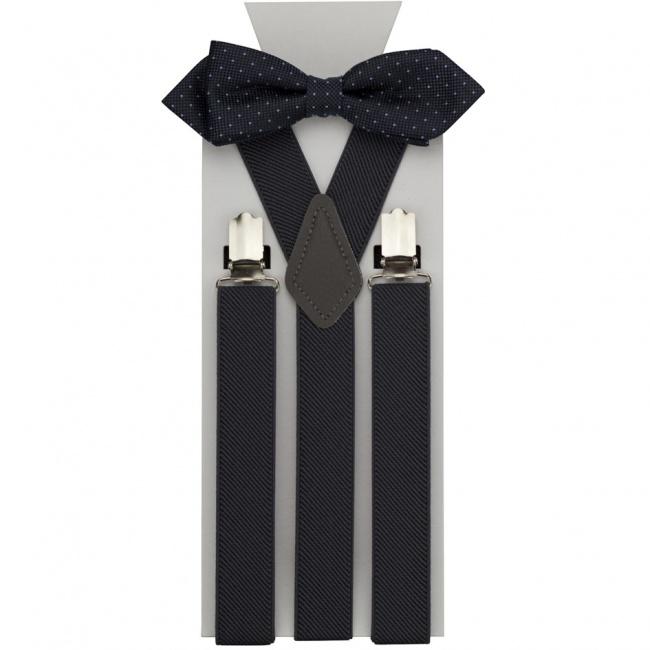 Tmavě šedý pánský set Šle a Motýlek s puntíky a kapesníček