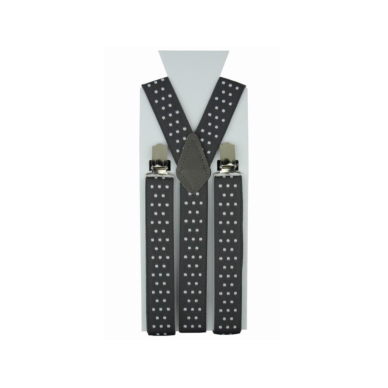 Šedé pánské šle - kšandy s puntíky 110cm