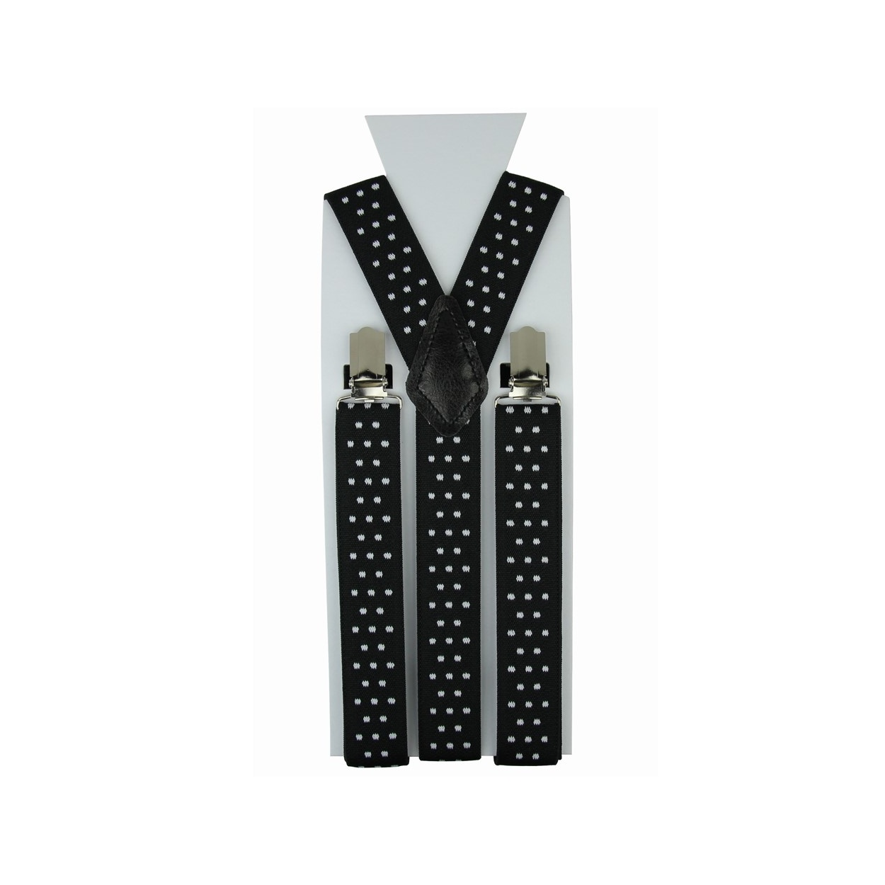 Černé pánské šle - kšandy s puntíky 110cm
