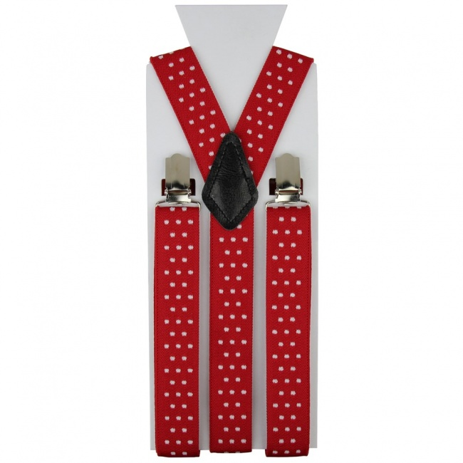 Červené pánské šle - kšandy s puntíky 110cm