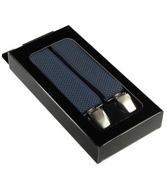 Modro šedé pánské široké šle - kšandy v krabičce