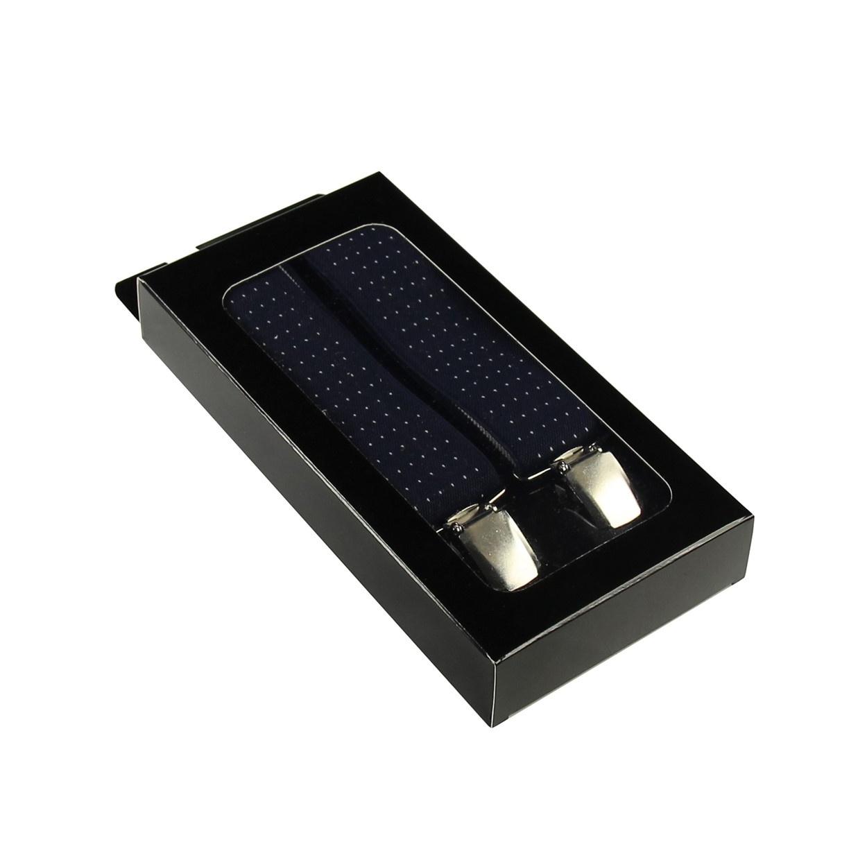 Tmavě modré pánské široké šle - kšandy s puntíky 120cm v krabičce