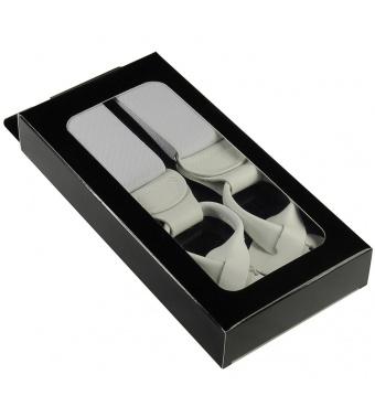 Bílé pánské široké šle - kšandy s poutky v krabičce