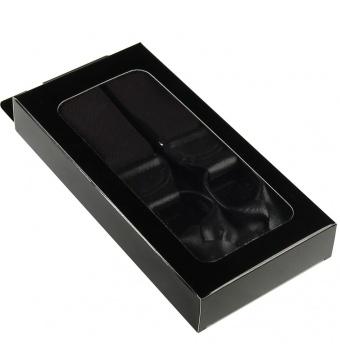 Tmavě hnědé pánské široké šle - kšandy s poutky v krabičce