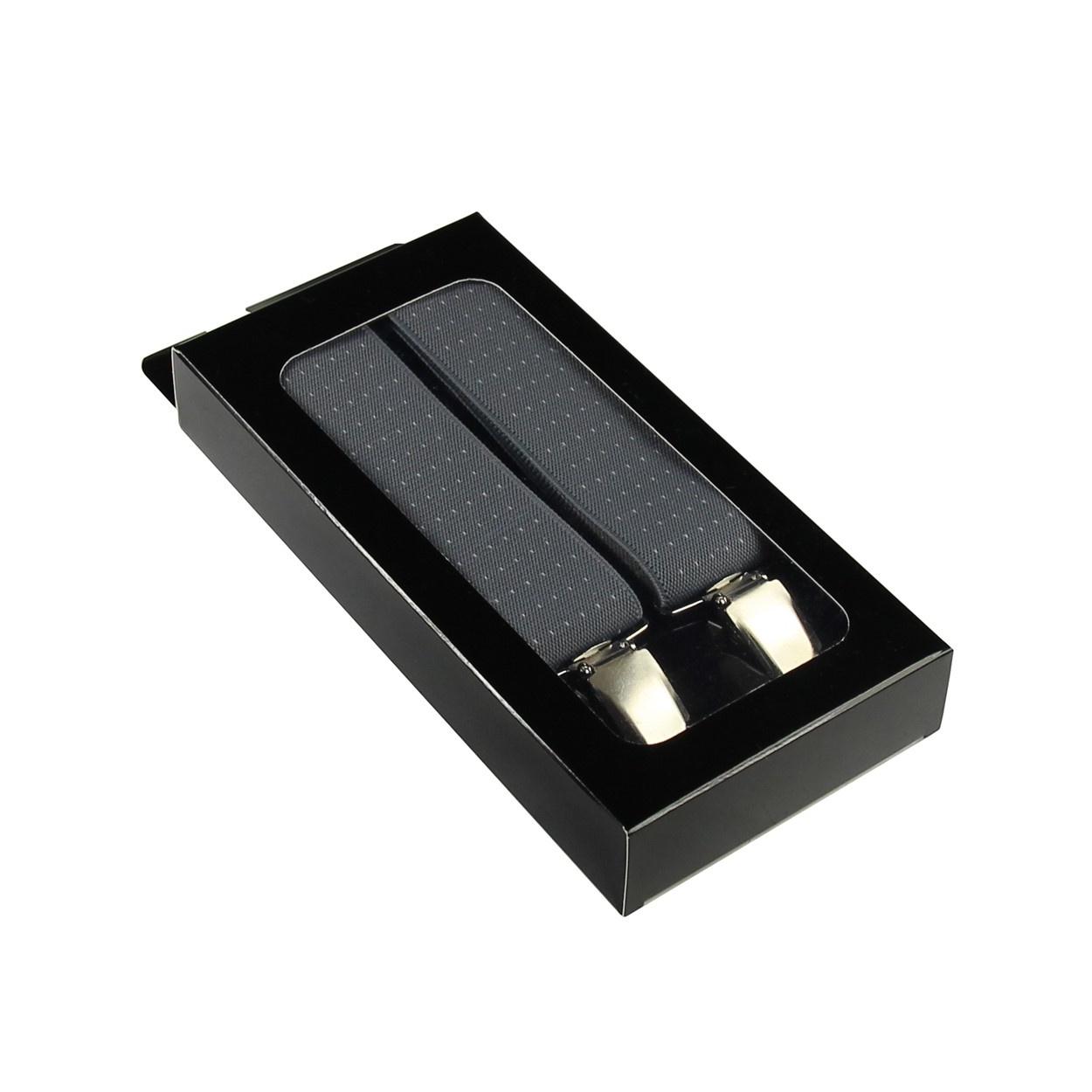 Šedé pánské široké šle - kšandy s puntíky 120cm v krabičce