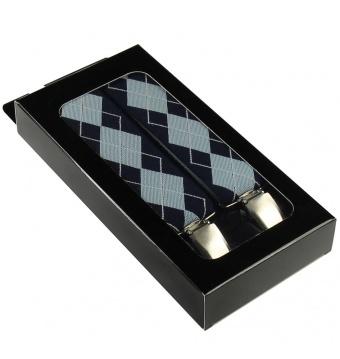Modré pánské široké šle - kšandy káro 120cm v krabičce