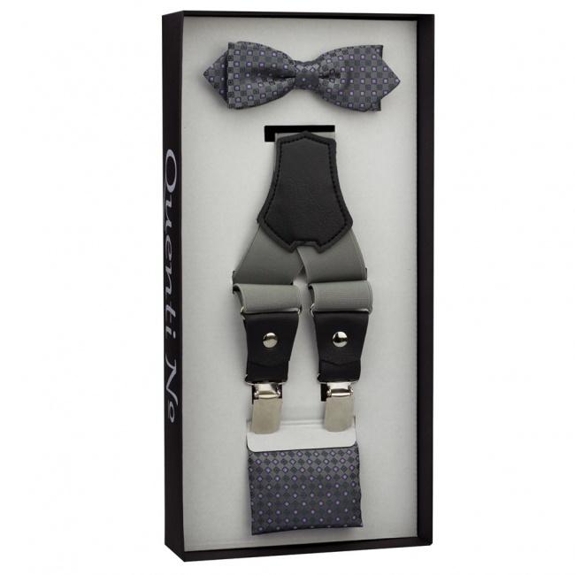 Šedý Luxusní pánský set Šle s koženým středem a vzorovaný motýlek s kapesníčkem