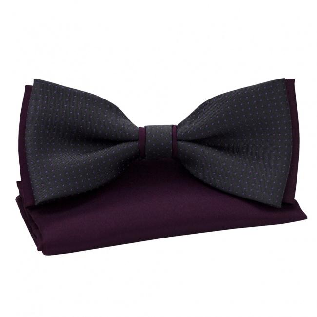 Tmavě šedo fialový pánský set Šle a Motýlek s puntíky a kapesníček