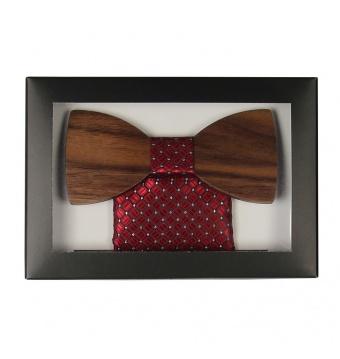 Vínově červený dřevěný motýlek v krabičce