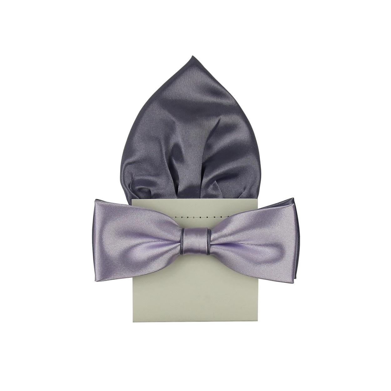 Světle fialový pánský motýlek s kapesníčkem saténový