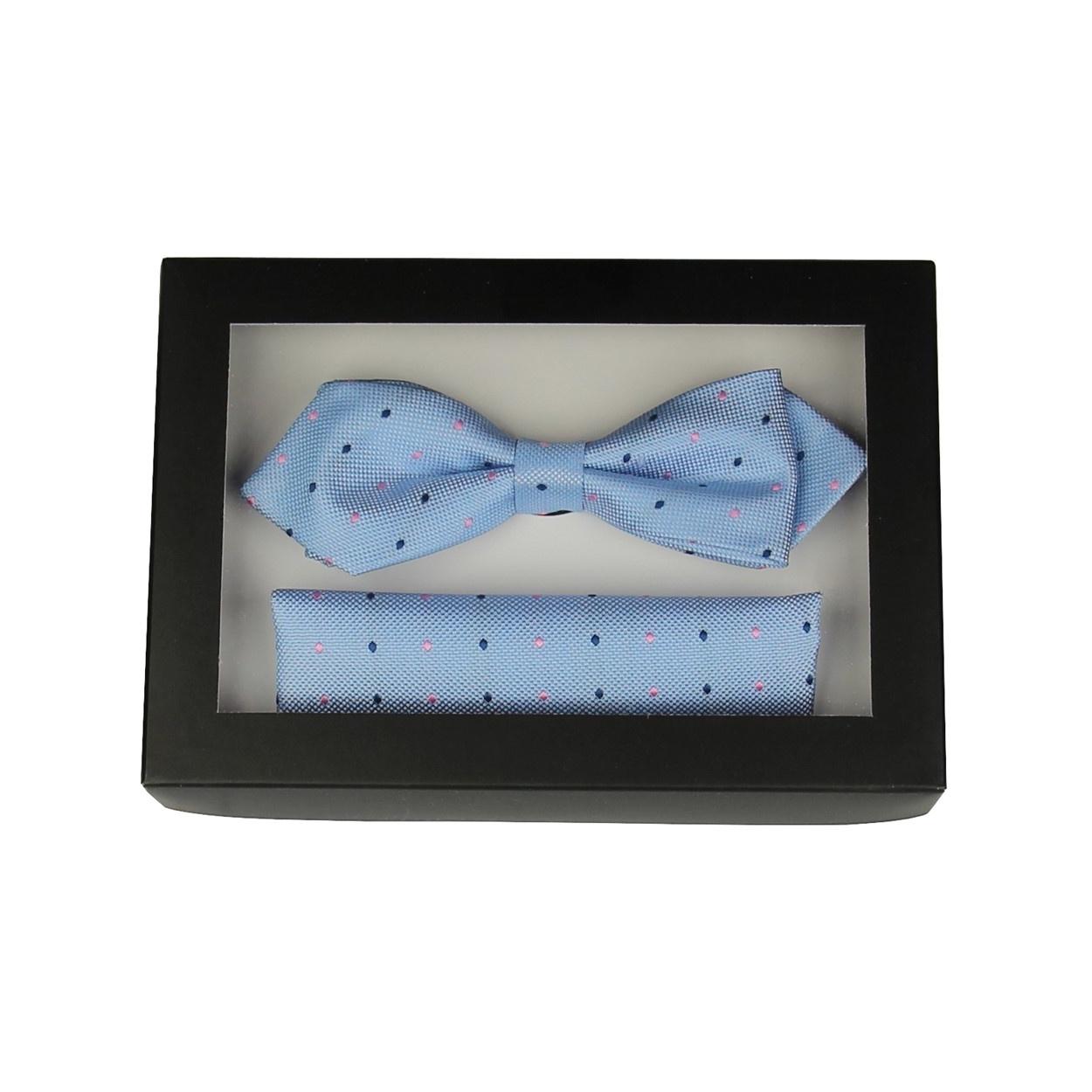 Světlé modrý pánský motýlek s puntíky a kapesníčkem