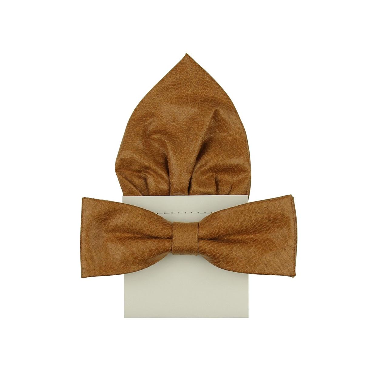 Hnědý kožený pánský motýlek s kapesníčkem
