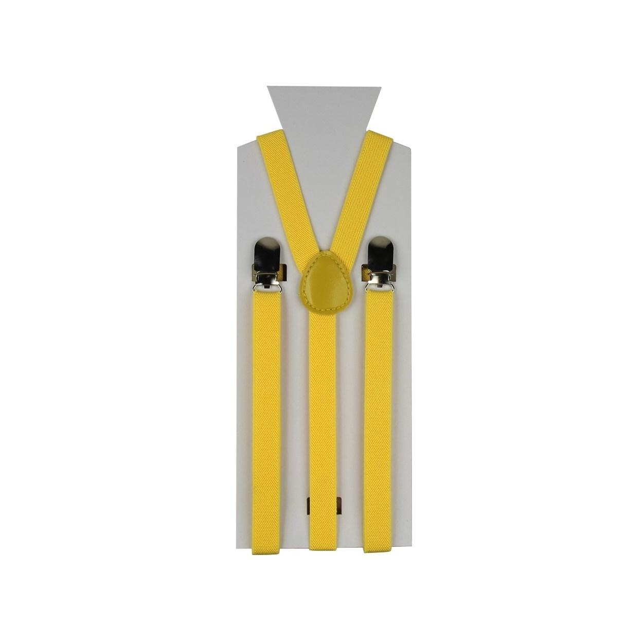 Žluté úzké pánské šle - kšandy 90cm