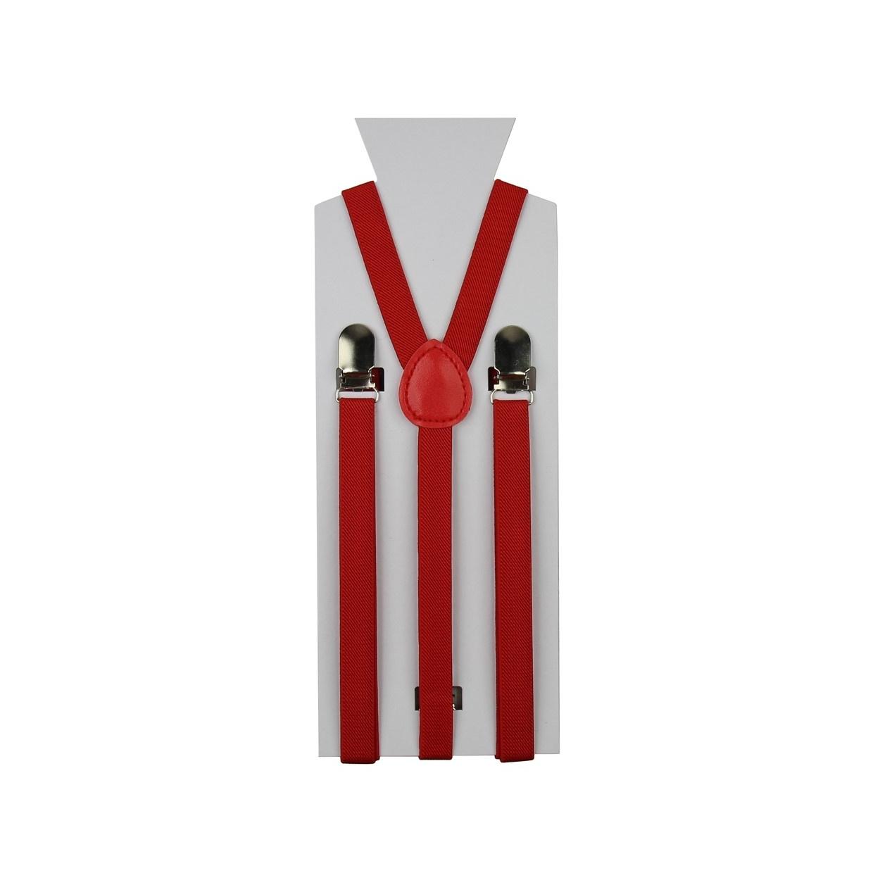 Červené úzké pánské šle - kšandy 90cm