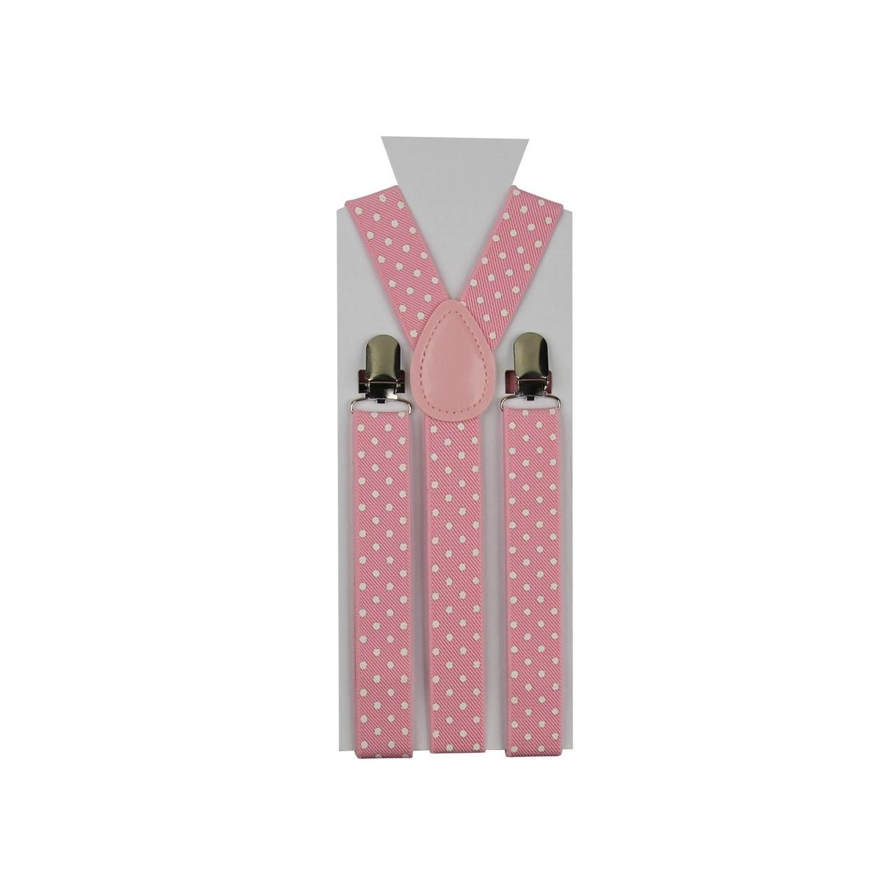 Světle růžové pánské šle - kšandy s bílými puntíky