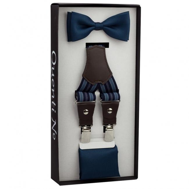 Tmavě modrý Luxusní pánský set Šle proužkované s koženým středem a motýlek s kapesníčkem