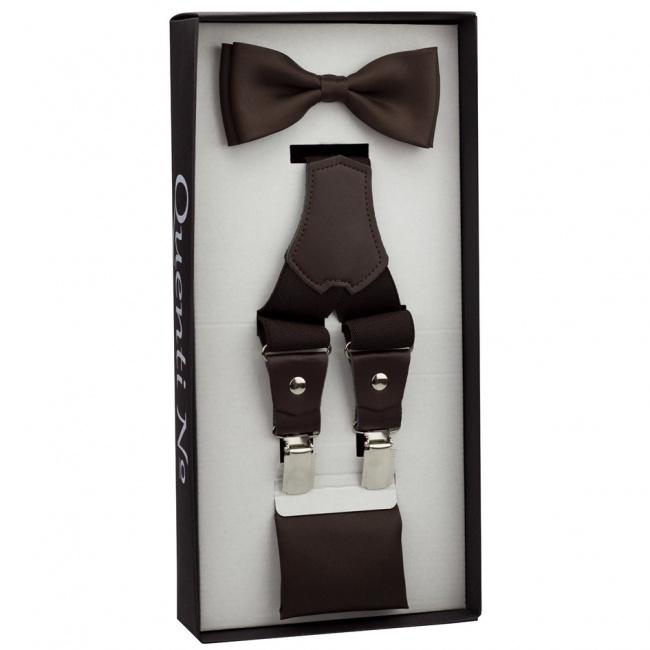 Tmavě hnědý jednobarevný Luxusní pánský set Šle s koženým středem a motýlek s kapesníčkem