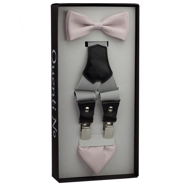 Starorůžovo šedý Luxusní pánský set Šle s koženým středem a motýlek s kapesníčkem