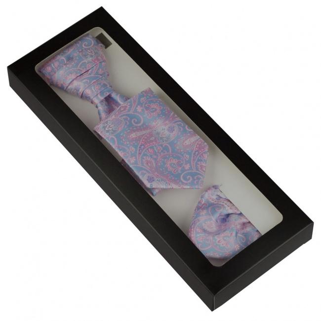 Světle modrá svatební kravata s růžovým paisley vzorem včetně kapesníčku - Regata