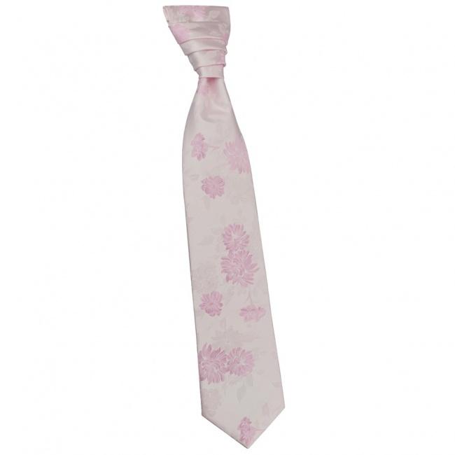 Světlounce růžová svatební kravata s růžovými květy včetně kapesníčku - Regata