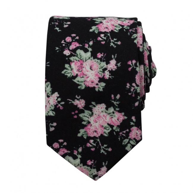 Černá pánská bavlněná kravata s růžovými květy